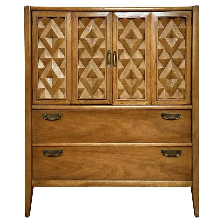 Brutalist Geometric Cubist Carved Mid-Century Modern Armoire Bar Cabinet Chest  For Sale