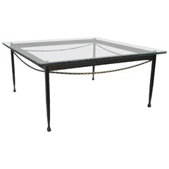 Brutalist Giacometti Style Forged Iron and Rippled Glass Square Coffee Table