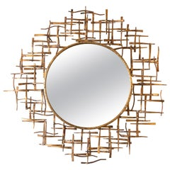 Brutalist Gilded Bronze Abstract Basketweave Pattern Circular Wall Mirror