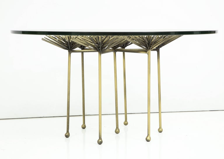 Brutalist Bronze Gilt Floral Table with Glass Top by Lost City Arts In Excellent Condition For Sale In New York, NY