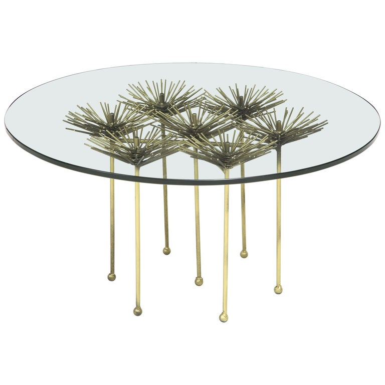 Brutalist Bronze Gilt Floral Table with Glass Top by Lost City Arts For Sale