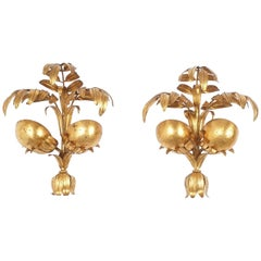 Brutalist Gilt Palm Wall Lamps, Germany, 1960
