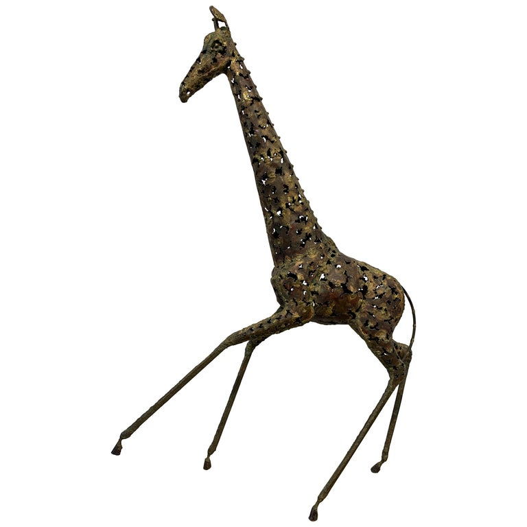 Brutalist Giraffe Mixed Metal Sculpture For Sale