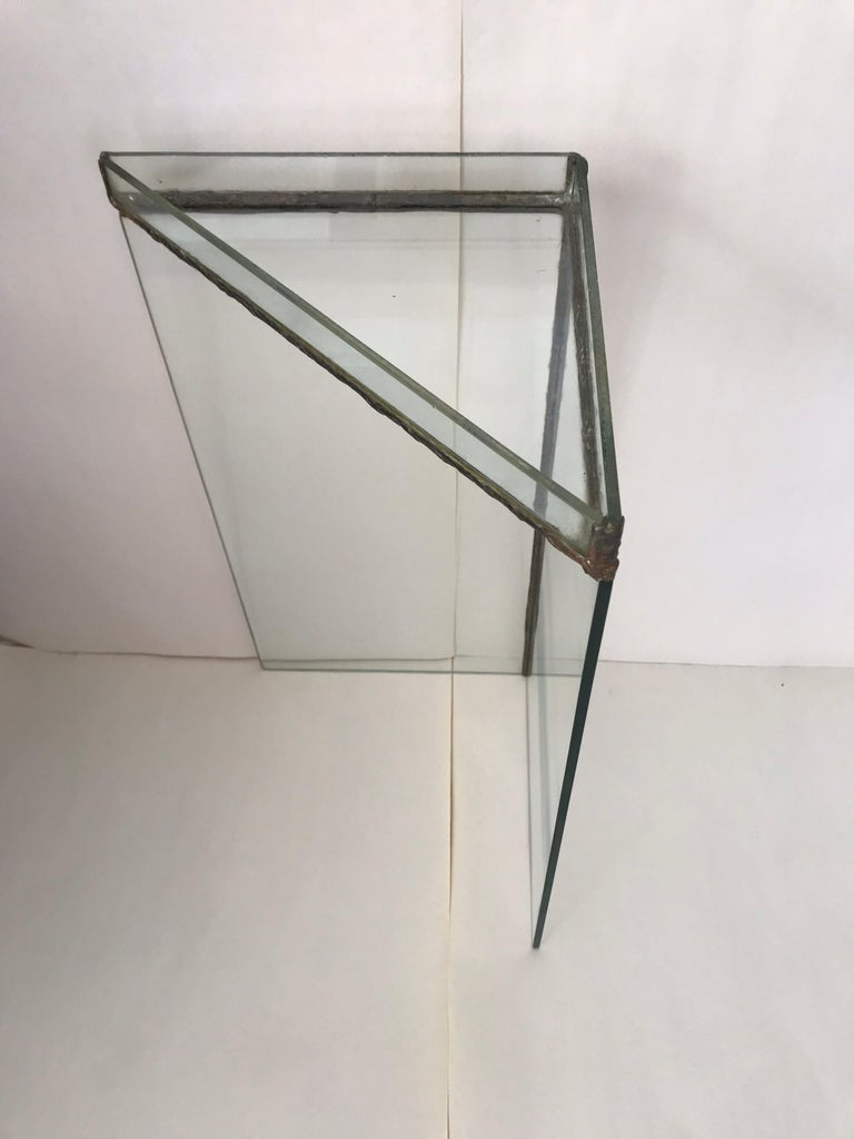 20th Century Brutalist Glass and Bronze Copper Occasional Side End or Drinks Table For Sale