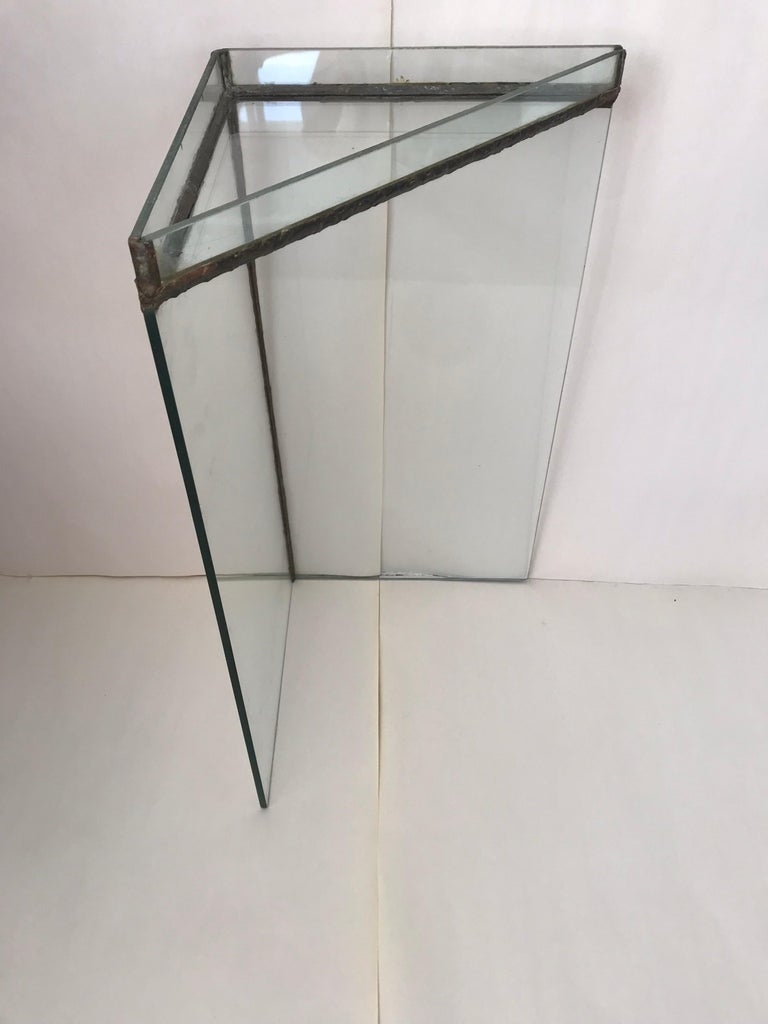 Brutalist Glass and Bronze Copper Occasional Side End or Drinks Table For Sale 1