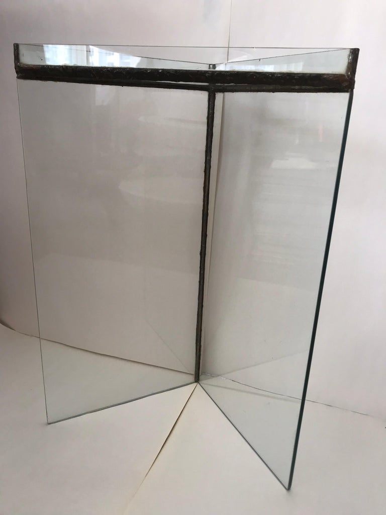 Brutalist Glass and Bronze Copper Occasional Side End or Drinks Table For Sale 2