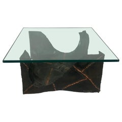 Brutalist Glass and Welded Metal Cocktail or Coffee table by Fred Wertlieb, 1969