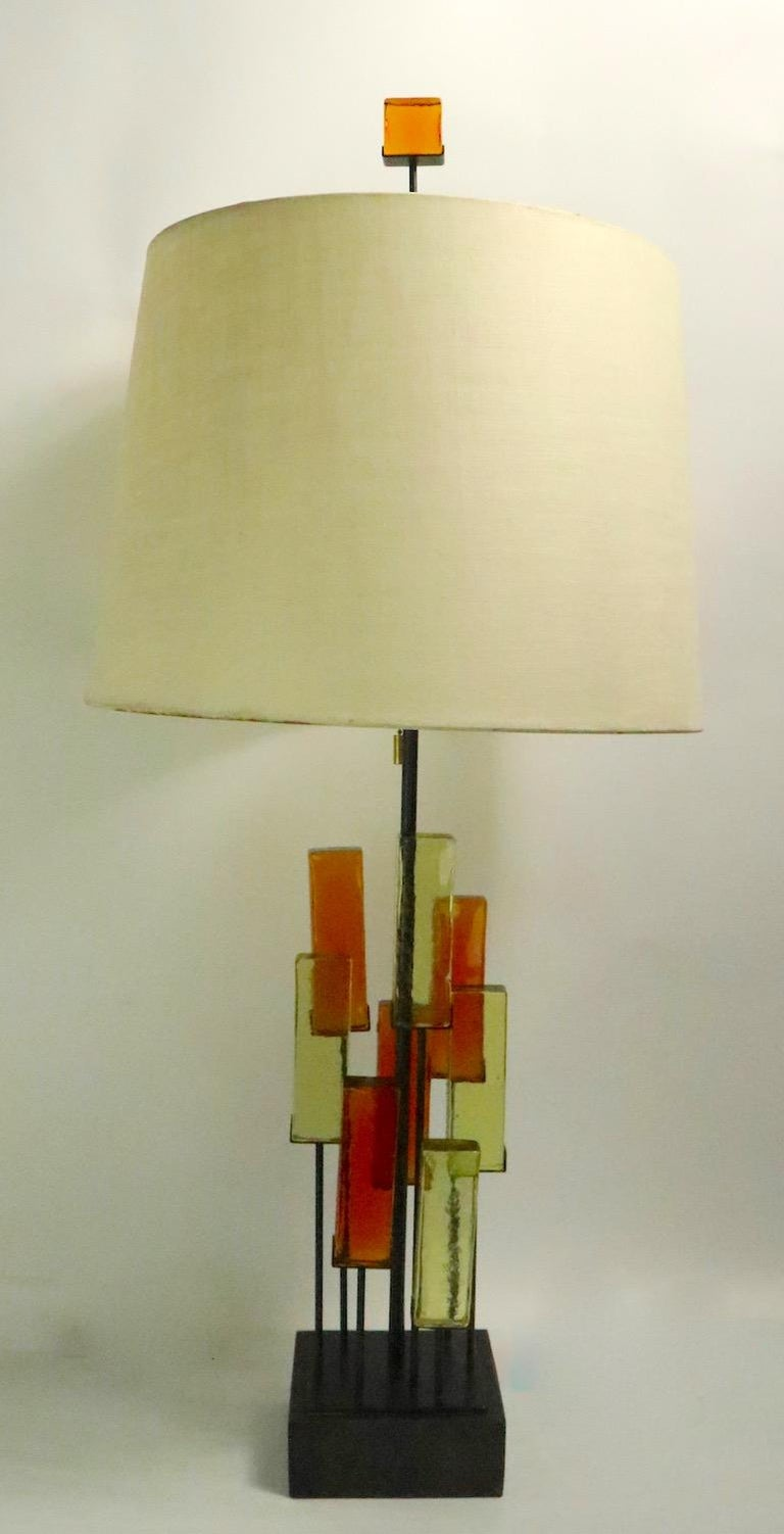 Brutalist Glass Block Table Lamp Attributed to Thurston for Lightolier For Sale 6