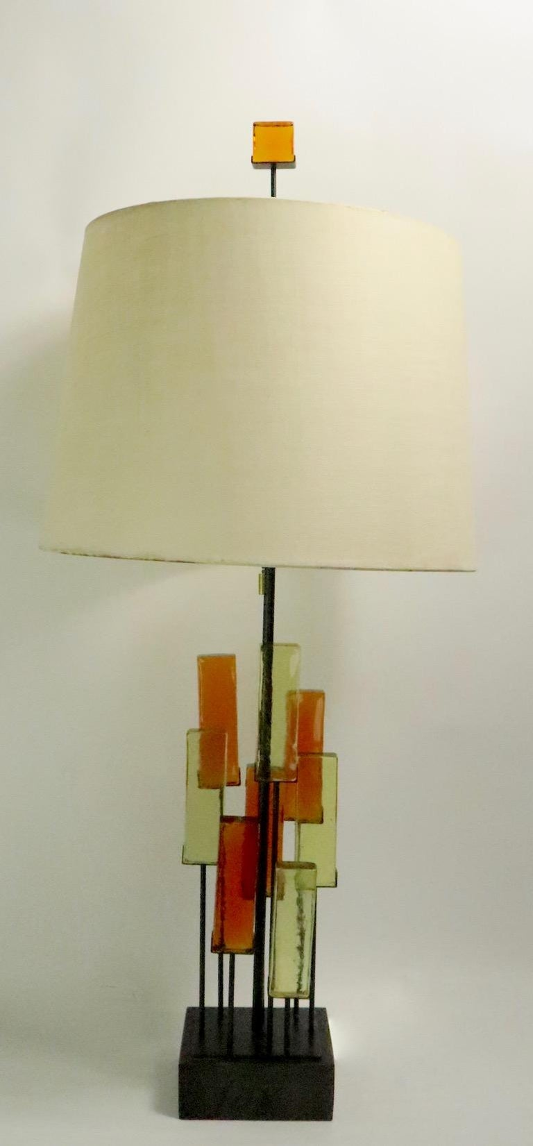 Brutalist Glass Block Table Lamp Attributed to Thurston for Lightolier For Sale 7