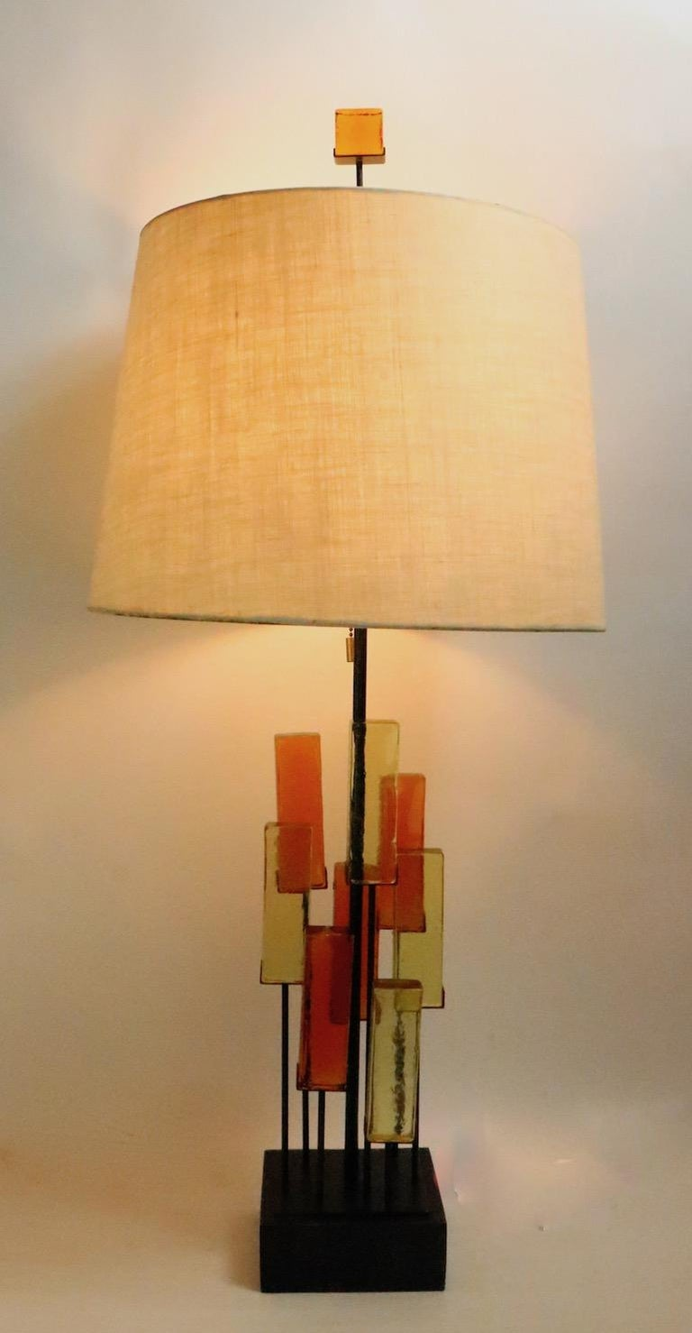 Brutalist Glass Block Table Lamp Attributed to Thurston for Lightolier For Sale 8