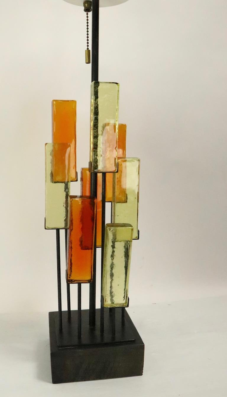 American Brutalist Glass Block Table Lamp Attributed to Thurston for Lightolier For Sale