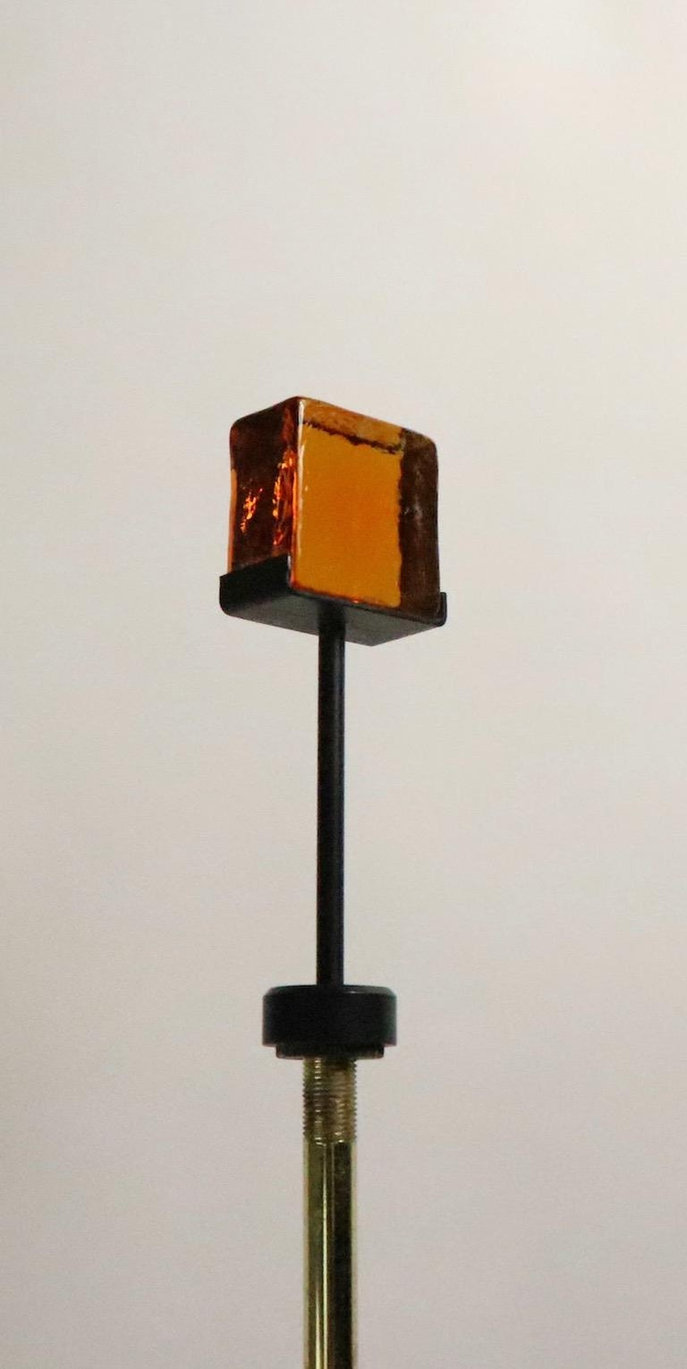 Brutalist Glass Block Table Lamp Attributed to Thurston for Lightolier In Good Condition For Sale In New York, NY