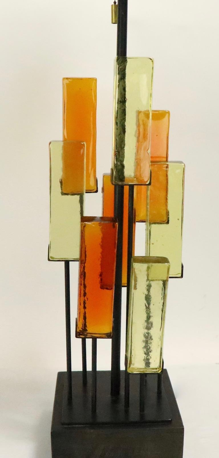 Wood Brutalist Glass Block Table Lamp Attributed to Thurston for Lightolier For Sale