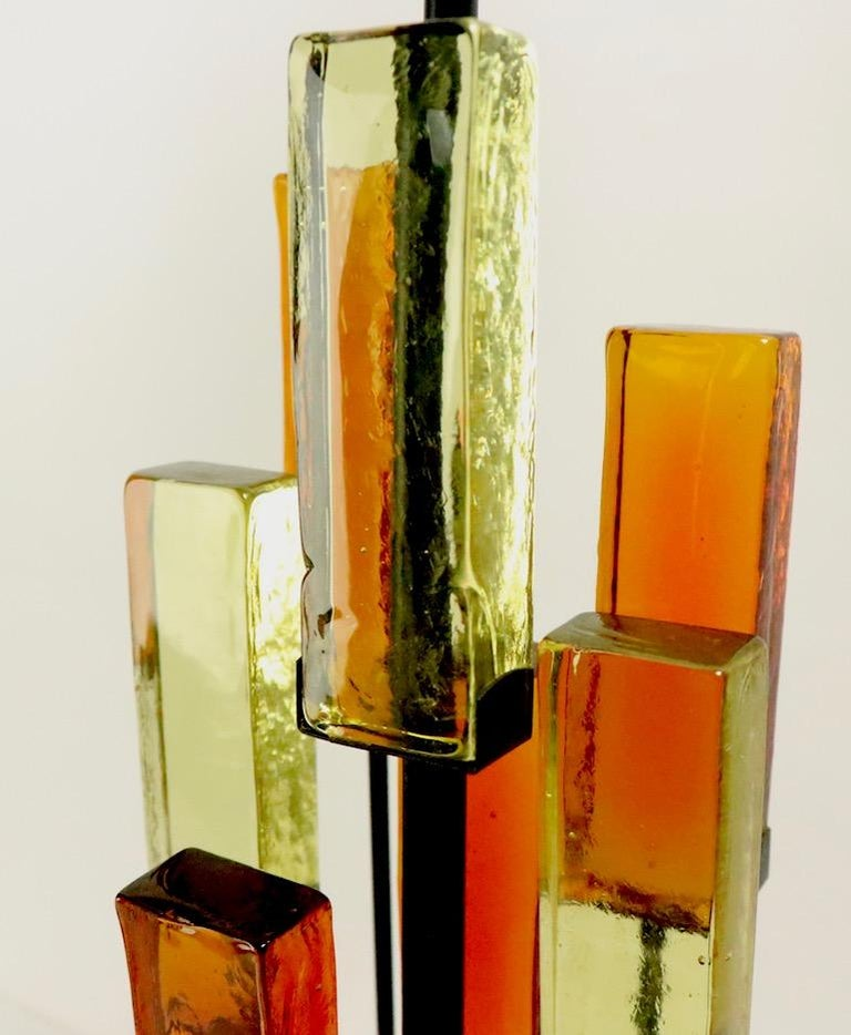 Brutalist Glass Block Table Lamp Attributed to Thurston for Lightolier For Sale 1