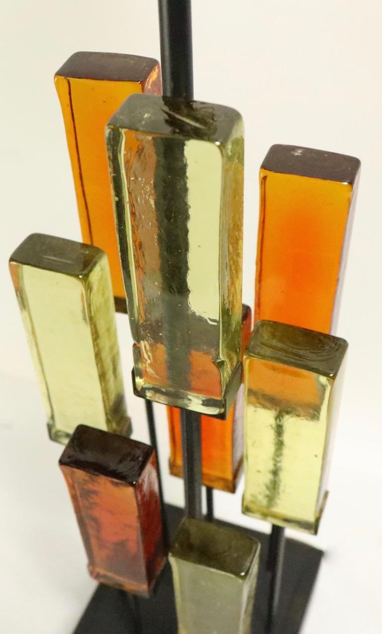 Brutalist Glass Block Table Lamp Attributed to Thurston for Lightolier For Sale 2