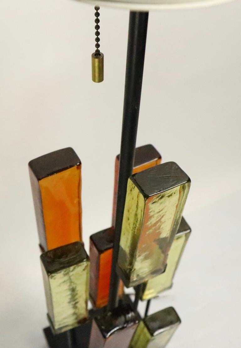 Brutalist Glass Block Table Lamp Attributed to Thurston for Lightolier For Sale 3