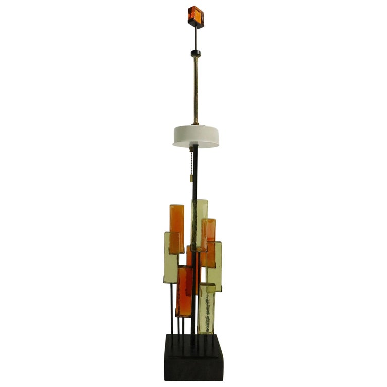 Brutalist Glass Block Table Lamp Attributed to Thurston for Lightolier For Sale
