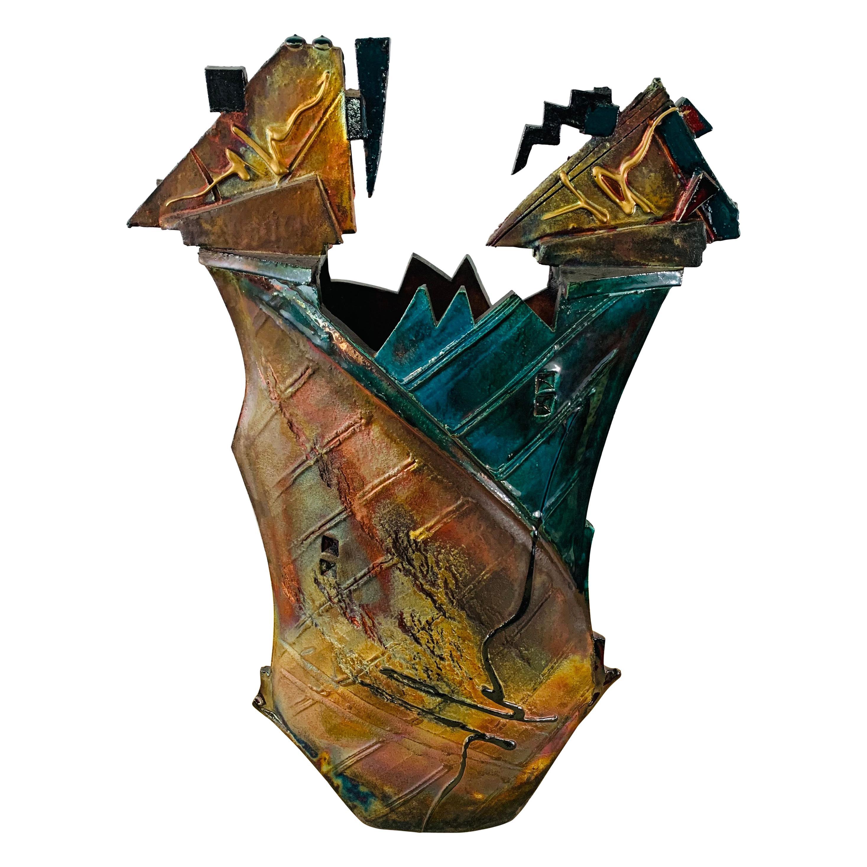 Brutalist Glazed Pottery Vase or Sculpture