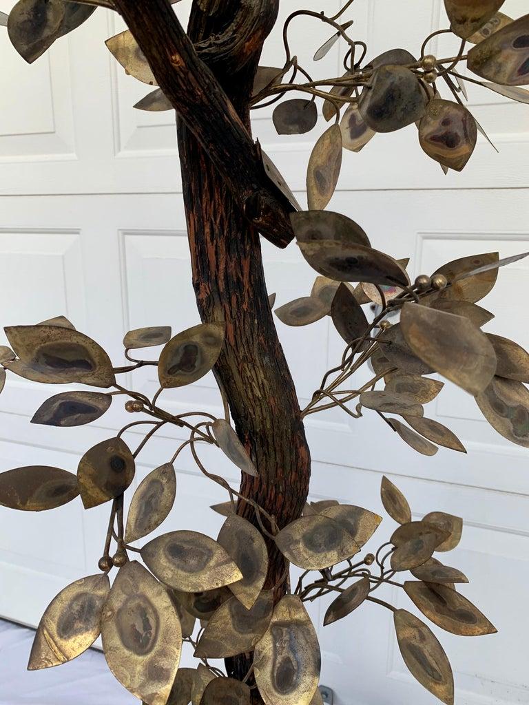 Brutalist Hammered Metal Tree Sculpture with Uplight, Curtis Jere, 1960s For Sale 5