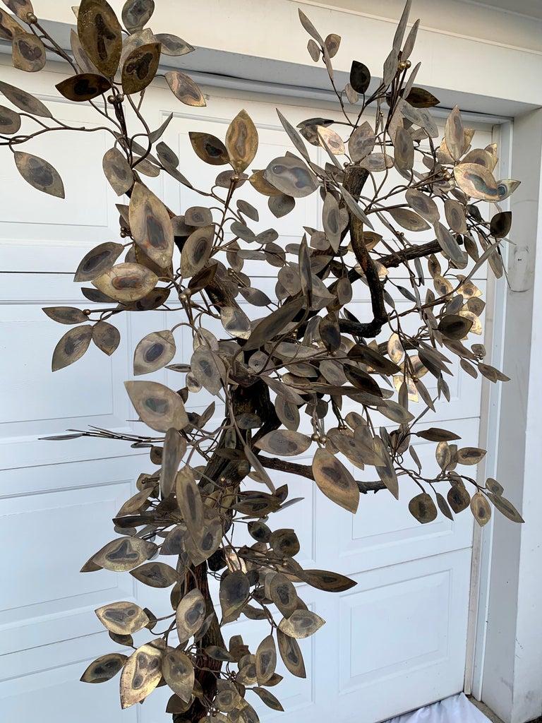 Brutalist Hammered Metal Tree Sculpture with Uplight, Curtis Jere, 1960s For Sale 7