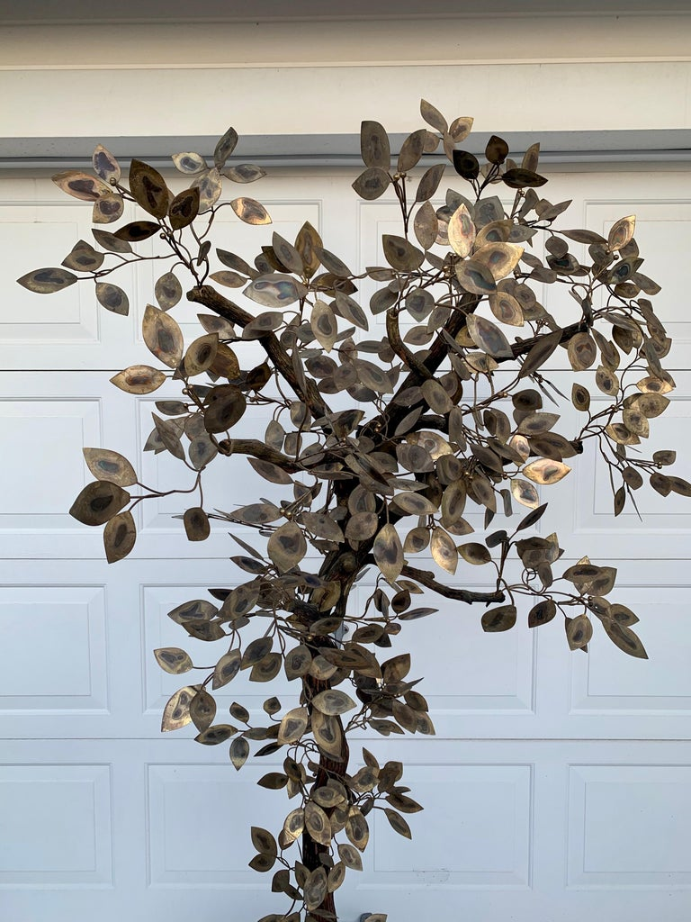 Brutalist Hammered Metal Tree Sculpture with Uplight, Curtis Jere, 1960s For Sale 1