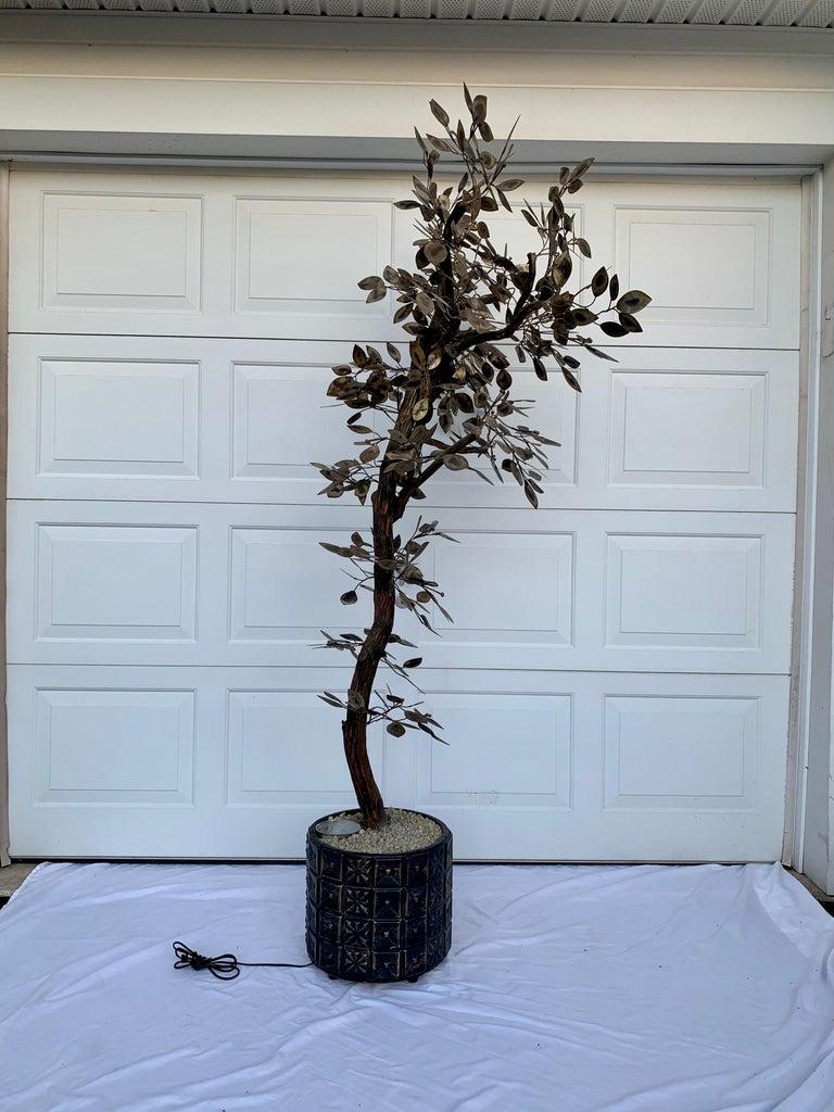 Brutalist Hammered Metal Tree Sculpture with Uplight, Curtis Jere, 1960s For Sale 2