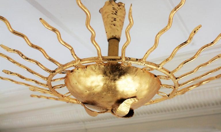 Brutalist Hand-Hammered Gold Gilt Iron Sunburst Light Fixture Framed By Circles For Sale 3