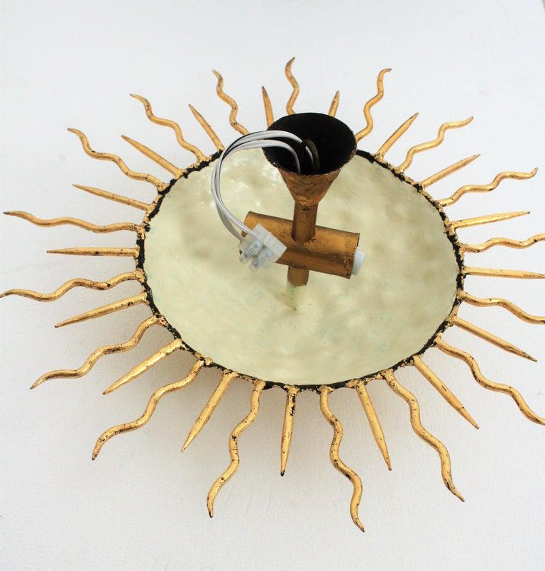 Brutalist Hand-Hammered Gold Gilt Iron Sunburst Light Fixture with Flower Detail For Sale 7