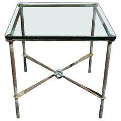 Brutalist Hand Hammered Steel Side Table