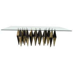 Brutalist Heavy Bronze & Iron Diamond Shaped Table in 3 Sections