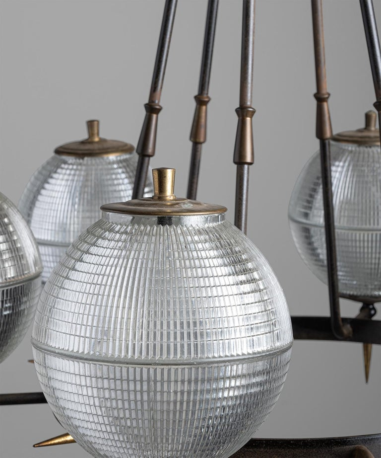 Brutalist Holophane Chandelier, Germany, circa 1960 In Good Condition For Sale In Culver City, CA