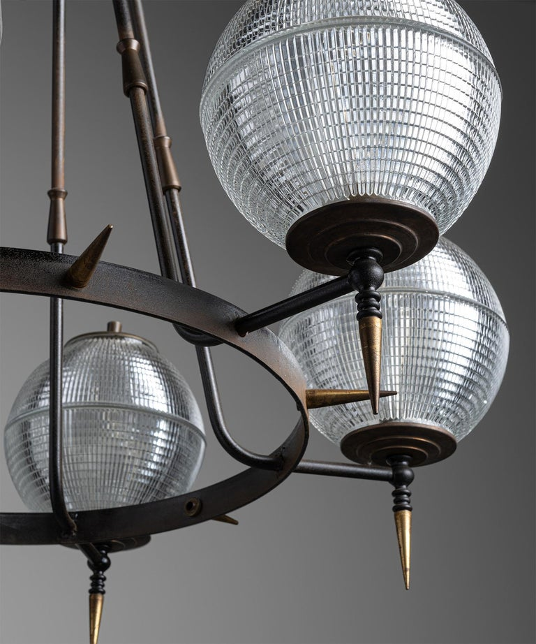 Mid-20th Century Brutalist Holophane Chandelier, Germany, circa 1960 For Sale