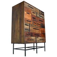 Brutalist Industrial Armoire Dresser Cabinet by Rochdale Spears