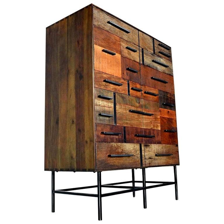 Brutalist Industrial Armoire Dresser Cabinet by Rochdale Spears For Sale