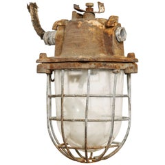 Brutalist Industrial Clear Glass Hanging Cage Lighting
