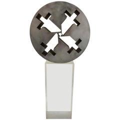 Brutalist Inspired Steel Mid-Century Modern Industrial Sculptural Piece