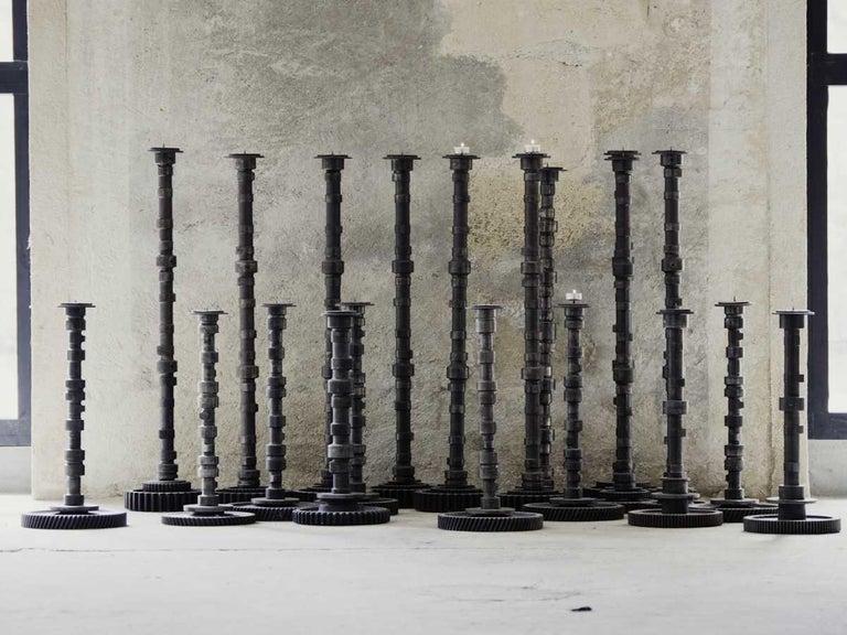 Brutalist Iron Gear Candleholder 3