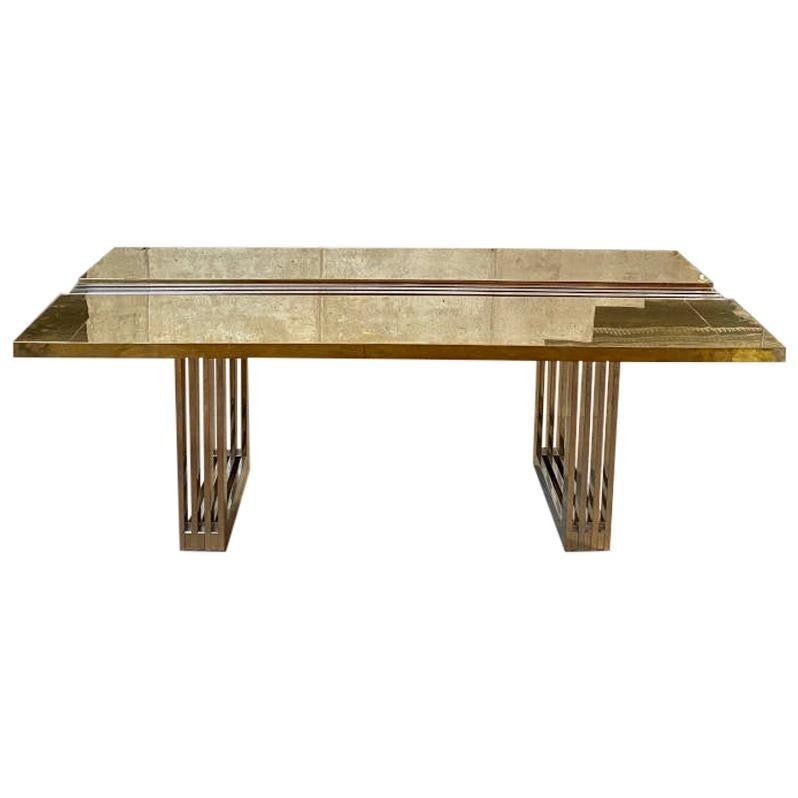 Brutalist Italian Brass Dining Table, 1975
