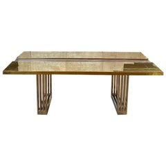 Brutalist Italian Brass Dining Table, 1975