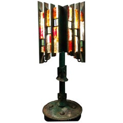 Brutalist Italian Sculptural Cut Glass and Iron Table Lamp from Poliarte
