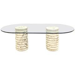 Brutalist Keystone Pedestal Glass Top Dining Table