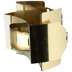 Brutalist Large Svend Aage Holm Sorensen Wall Sconce in Gilt Brass, 1960s