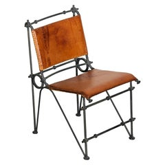Brutalist Leather and Wrought Iron Side Chair Attributed to Ilana Goor