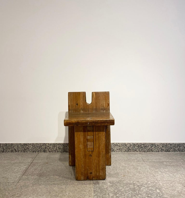Brutalist Lina Bo Bardi Stool Designed for Sesc Pompeia Brazil 1980, Pine Wood For Sale 5