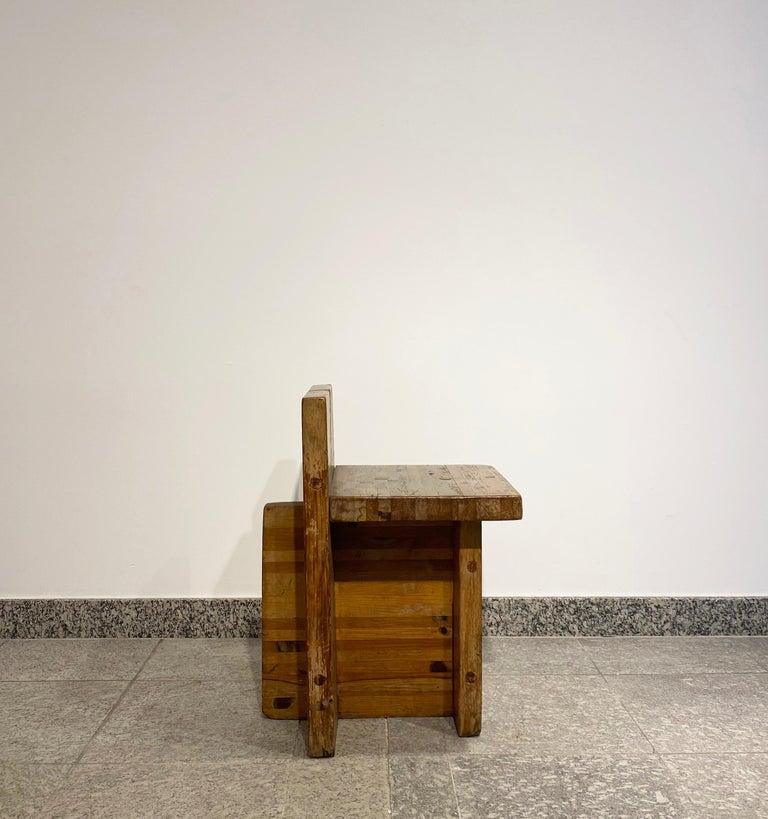 Brutalist Lina Bo Bardi Stool Designed for Sesc Pompeia Brazil 1980, Pine Wood For Sale 6