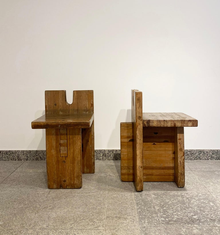 Designed by Lina Bo Bardi, Marcelo Ferraz and Marcelo Suzuki Created for the center SESC Pompéia in São Paulo Brasil, 1980s Pine wood Price per piece, pair available  Measurements  38 cm x 52 cm x 68,5 H cm 21,25 in x 15,74 in x 25,9 H in.
