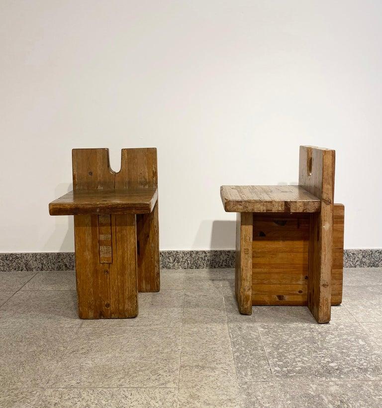 Brazilian Brutalist Lina Bo Bardi Stool Designed for Sesc Pompeia Brazil 1980, Pine Wood For Sale