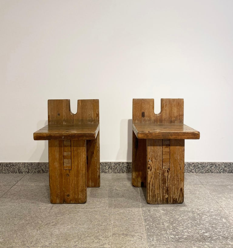 Brutalist Lina Bo Bardi Stool Designed for Sesc Pompeia Brazil 1980, Pine Wood In Good Condition For Sale In Belo Horizonte, Minas Gerais
