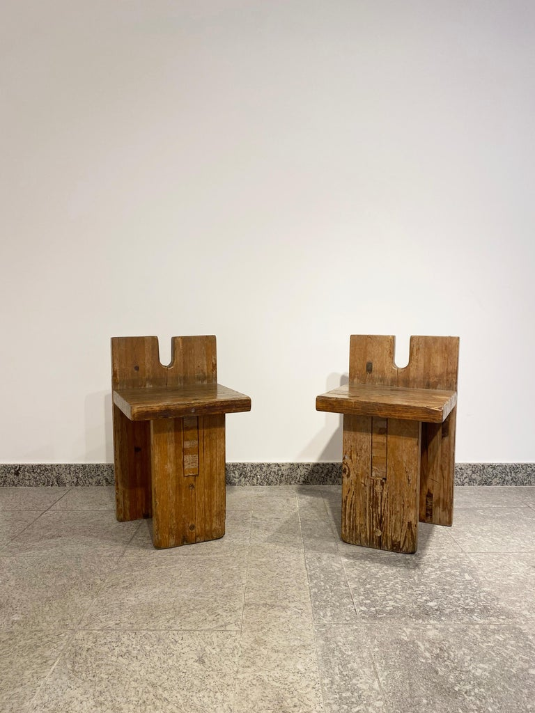 Late 20th Century Brutalist Lina Bo Bardi Stool Designed for Sesc Pompeia Brazil 1980, Pine Wood For Sale
