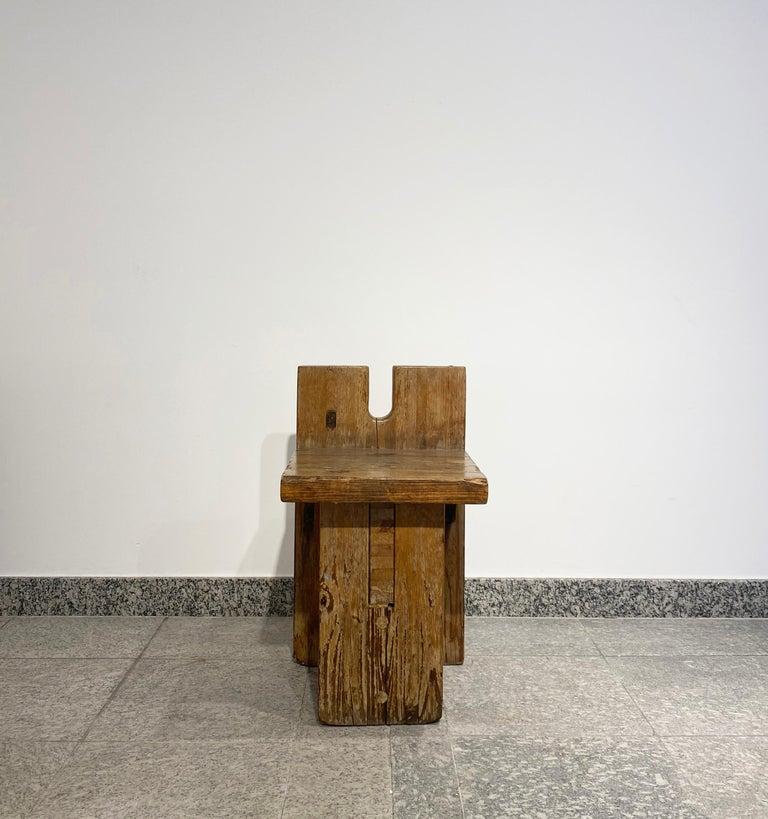 Brutalist Lina Bo Bardi Stool Designed for Sesc Pompeia Brazil 1980, Pine Wood For Sale 1